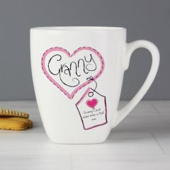 Personalised Heart Stitch Design Granny Latte Mug