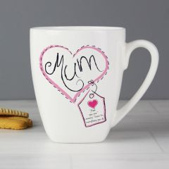 Personalised Heart Stitch Design Mum Latte Mug