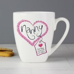 Personalised Heart Stitch Design Nanny Latte Mug