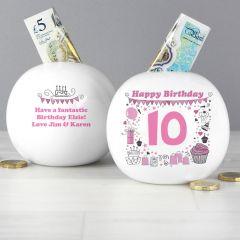 Personalised Big Age Girl Design Money Box