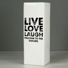 Personalised Live Love Laugh White Square Vase