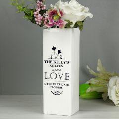 Personalised Full of Love White Square Vase