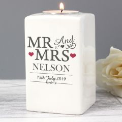 Personalised Mr & Mrs Ceramic Tea Light Candle Holder Gift