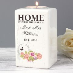 Personalised Shabby Chic Ceramic Tea Light Candle Holder Gift