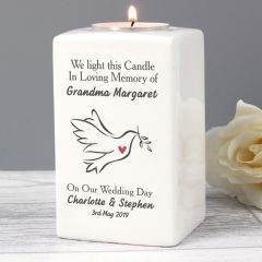 Personalised In Loving Memory Dove Ceramic Tea Light Candle Holder Gift