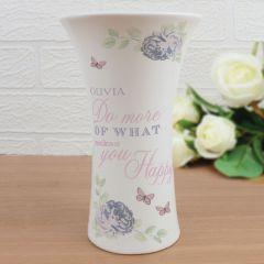 Personalised Secret Garden Ceramic Waisted Vase