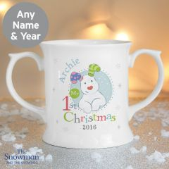 Personalised The Snowman and Snowdog Design My 1st Christmas Blue Loving Mug
