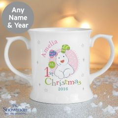 Personalised The Snowman and Snowdog Design My 1st Christmas Pink Loving Mug