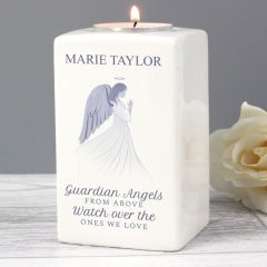 Personalised Guardian Angel Ceramic Tea Light Candle Holder Gift