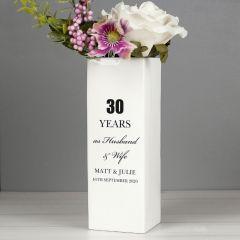 Personalised Anniversary Square Vase