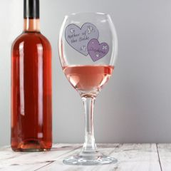 Personalised Butterfly Hearts Design Wedding Wine Glass
