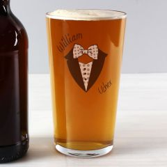 Personalised Dotty Wedding Design Male Pint Glass