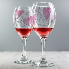 Personalised Love & Kisses Design Wine Glass