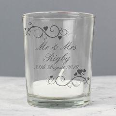 Personalised Ornate Swirl Design Votive Candle Holder