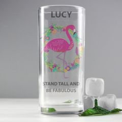 Personalised Flamingo Design Hi Ball Glass