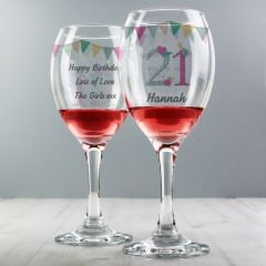 Personalised Birthday Bunting Wine Glass