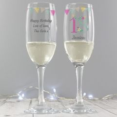 Personalised Birthday Craft Glass Champagne Flute