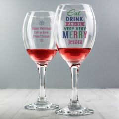 Eat Drink & Be Merry Personalised Wine Glass