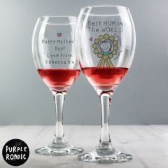 Personalised Purple Ronnie Rosette Design Wine Glass For Her