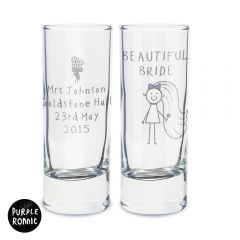 Personalised Purple Ronnie Bride Design Shot Glass