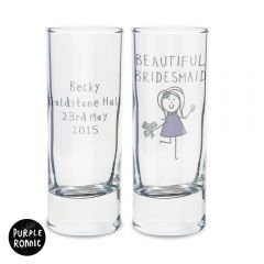Personalised Purple Ronnie Female Wedding Design Shot Glass