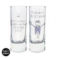 Personalised Purple Ronnie Wedding Male Design Shot Glass