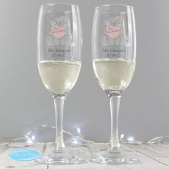 Personalised Me To You Wedding Pair of Champagne Champagne Flutes with Gift Box