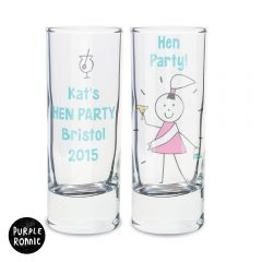 Personalised Purple Ronnie Hen Design Shot Glass