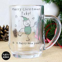 Personalised Purple Ronnie Design Christmas Elf Tankard