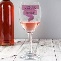 Personalised Pink Banner Design Wine Glass