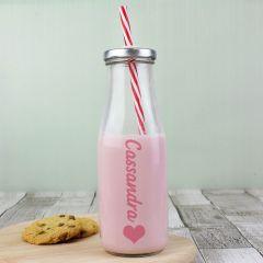 Personalised Heart Design Milk Bottle