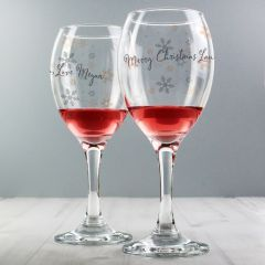 Personalised Snowflake Design Wine Glass