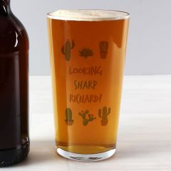 Personalised Cactus Design Pint Glass