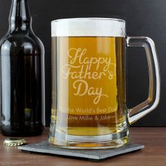 Personalised Happy Father's Day Glass Pint Stern Tankard
