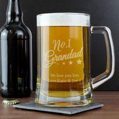 Personalised The No.1 Grandad Glass Pint Stern Tankard
