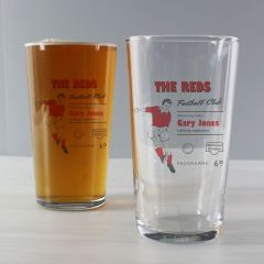 Personalised Vintage Design Football Red Supporter's Pint Glass