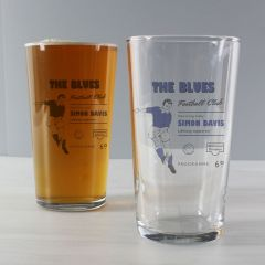 Personalised Vintage Design Football Blue Supporter's Pint Glass
