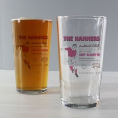 Personalised Vintage Design Football Claret Supporter's Pint Glass