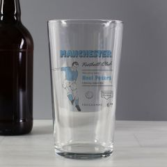 Personalised Vintage Design Football Sky Blue Supporter's Pint Glass