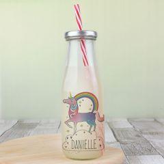Personalised Unicorn Design Milk Bottle