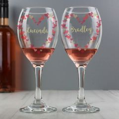 Personalised Confetti Hearts Wedding Pair of Wine Glasses Set