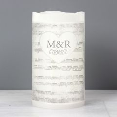 Personalised Vintage Music Manuscript LED Flickering Candle