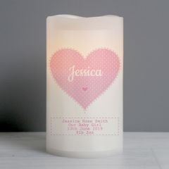 Personalised Stitch & Dot Baby Girl Nightlight LED Flickering Candle