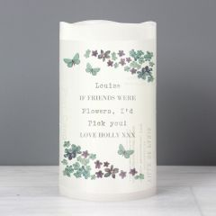 Personalised Forget Me Not LED Flickering Candle