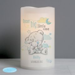 Personalised Tiny Tatty Teddy Dream Big Blue Nightlight LED Flickering Candle