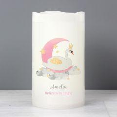 Personalised Swan Lake Design LED Candle