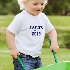 Personalised Established in Blue Text Tshirt Age 1-2 years