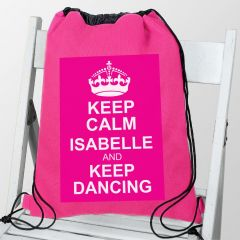 Personalised Pink Keep Calm Drawstring Bag