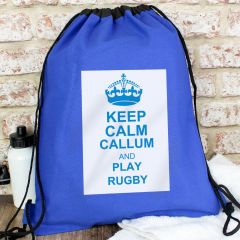 Personalised Blue Keep Calm Drawstring Bag