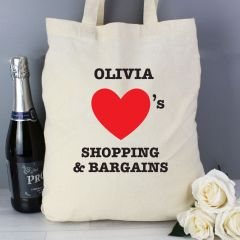 Personalised Hearts Cotton Tote Bag